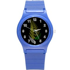 Drawing Of A Fractal Fern On Black Round Plastic Sport Watch (s) by Simbadda