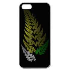 Drawing Of A Fractal Fern On Black Apple Seamless Iphone 5 Case (clear) by Simbadda