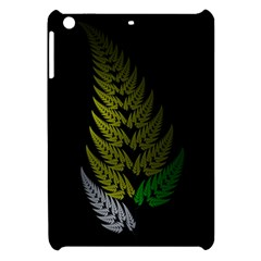 Drawing Of A Fractal Fern On Black Apple Ipad Mini Hardshell Case by Simbadda