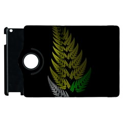 Drawing Of A Fractal Fern On Black Apple Ipad 3/4 Flip 360 Case by Simbadda
