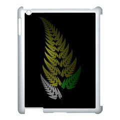 Drawing Of A Fractal Fern On Black Apple Ipad 3/4 Case (white) by Simbadda