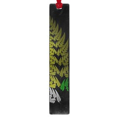Drawing Of A Fractal Fern On Black Large Book Marks by Simbadda