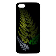 Drawing Of A Fractal Fern On Black Apple Iphone 5 Premium Hardshell Case by Simbadda