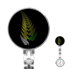 Drawing Of A Fractal Fern On Black Stainless Steel Nurses Watch by Simbadda