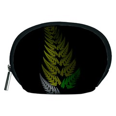 Drawing Of A Fractal Fern On Black Accessory Pouches (medium)  by Simbadda