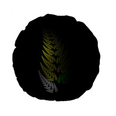 Drawing Of A Fractal Fern On Black Standard 15  Premium Flano Round Cushions by Simbadda