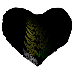 Drawing Of A Fractal Fern On Black Large 19  Premium Flano Heart Shape Cushions by Simbadda