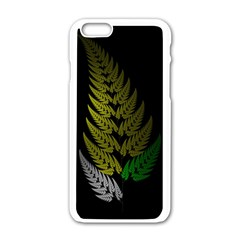 Drawing Of A Fractal Fern On Black Apple Iphone 6/6s White Enamel Case by Simbadda