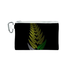Drawing Of A Fractal Fern On Black Canvas Cosmetic Bag (s) by Simbadda