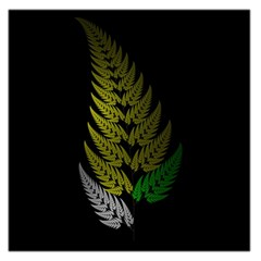 Drawing Of A Fractal Fern On Black Large Satin Scarf (square) by Simbadda