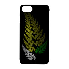 Drawing Of A Fractal Fern On Black Apple Iphone 7 Hardshell Case by Simbadda