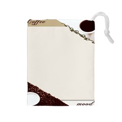 Greeting Card Coffee Mood Drawstring Pouches (large)  by Simbadda
