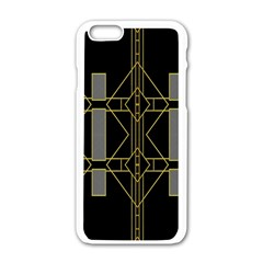 Simple Art Deco Style  Apple Iphone 6/6s White Enamel Case by Simbadda