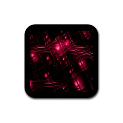 Picture Of Love In Magenta Declaration Of Love Rubber Square Coaster (4 Pack)  by Simbadda