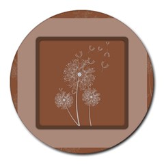 Dandelion Frame Card Template For Scrapbooking Round Mousepads by Simbadda