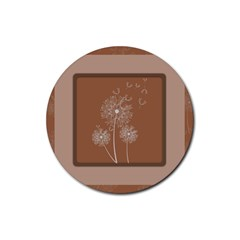Dandelion Frame Card Template For Scrapbooking Rubber Coaster (round)  by Simbadda