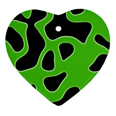 Black Green Abstract Shapes A Completely Seamless Tile Able Background Heart Ornament (two Sides) by Simbadda