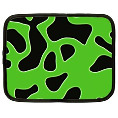 Black Green Abstract Shapes A Completely Seamless Tile Able Background Netbook Case (xl)  by Simbadda