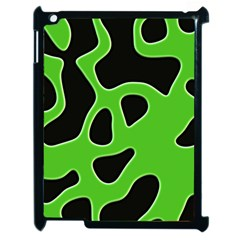 Black Green Abstract Shapes A Completely Seamless Tile Able Background Apple Ipad 2 Case (black) by Simbadda