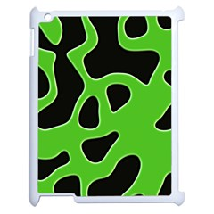 Black Green Abstract Shapes A Completely Seamless Tile Able Background Apple Ipad 2 Case (white) by Simbadda