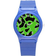 Black Green Abstract Shapes A Completely Seamless Tile Able Background Round Plastic Sport Watch (s) by Simbadda