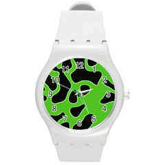 Black Green Abstract Shapes A Completely Seamless Tile Able Background Round Plastic Sport Watch (m) by Simbadda