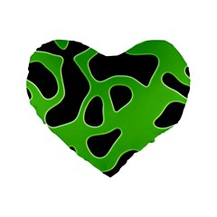 Black Green Abstract Shapes A Completely Seamless Tile Able Background Standard 16  Premium Flano Heart Shape Cushions by Simbadda