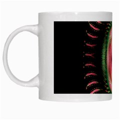 Fractal Plate Like Image In Pink Green And Other Colours White Mugs by Simbadda