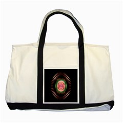 Fractal Plate Like Image In Pink Green And Other Colours Two Tone Tote Bag by Simbadda