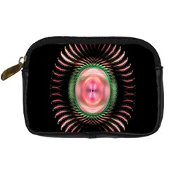Fractal Plate Like Image In Pink Green And Other Colours Digital Camera Cases by Simbadda