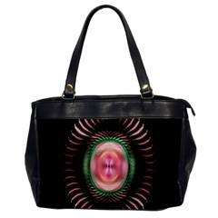 Fractal Plate Like Image In Pink Green And Other Colours Office Handbags by Simbadda