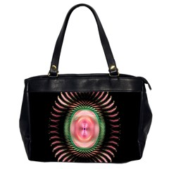 Fractal Plate Like Image In Pink Green And Other Colours Office Handbags (2 Sides)  by Simbadda