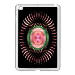 Fractal Plate Like Image In Pink Green And Other Colours Apple iPad Mini Case (White) by Simbadda
