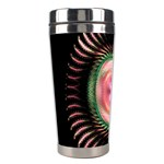 Fractal Plate Like Image In Pink Green And Other Colours Stainless Steel Travel Tumblers Left