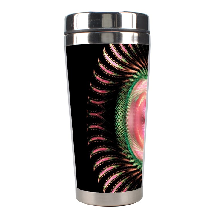 Fractal Plate Like Image In Pink Green And Other Colours Stainless Steel Travel Tumblers