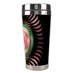 Fractal Plate Like Image In Pink Green And Other Colours Stainless Steel Travel Tumblers Right