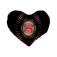 Fractal Plate Like Image In Pink Green And Other Colours Standard 16  Premium Flano Heart Shape Cushions by Simbadda