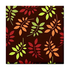 Leaves Wallpaper Pattern Seamless Autumn Colors Leaf Background Tile Coasters by Simbadda