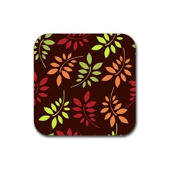 Leaves Wallpaper Pattern Seamless Autumn Colors Leaf Background Rubber Square Coaster (4 Pack)  by Simbadda