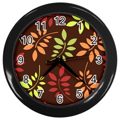 Leaves Wallpaper Pattern Seamless Autumn Colors Leaf Background Wall Clocks (black) by Simbadda