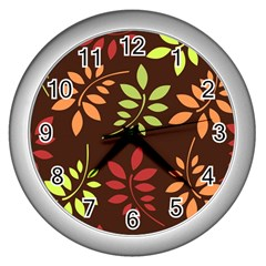Leaves Wallpaper Pattern Seamless Autumn Colors Leaf Background Wall Clocks (silver)  by Simbadda