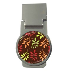 Leaves Wallpaper Pattern Seamless Autumn Colors Leaf Background Money Clips (round)  by Simbadda