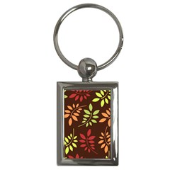 Leaves Wallpaper Pattern Seamless Autumn Colors Leaf Background Key Chains (rectangle)  by Simbadda