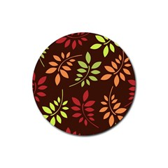 Leaves Wallpaper Pattern Seamless Autumn Colors Leaf Background Rubber Round Coaster (4 Pack)  by Simbadda