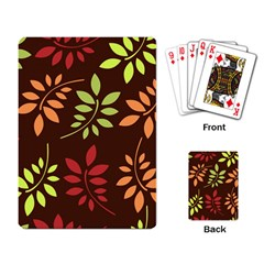 Leaves Wallpaper Pattern Seamless Autumn Colors Leaf Background Playing Card by Simbadda