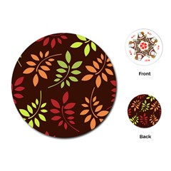 Leaves Wallpaper Pattern Seamless Autumn Colors Leaf Background Playing Cards (round)  by Simbadda