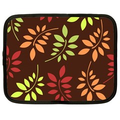 Leaves Wallpaper Pattern Seamless Autumn Colors Leaf Background Netbook Case (xl)  by Simbadda