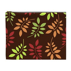 Leaves Wallpaper Pattern Seamless Autumn Colors Leaf Background Cosmetic Bag (xl) by Simbadda