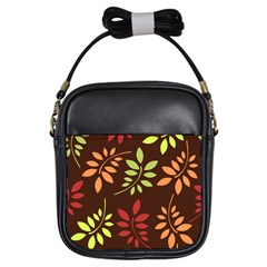 Leaves Wallpaper Pattern Seamless Autumn Colors Leaf Background Girls Sling Bags by Simbadda