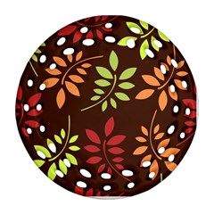 Leaves Wallpaper Pattern Seamless Autumn Colors Leaf Background Ornament (round Filigree) by Simbadda
